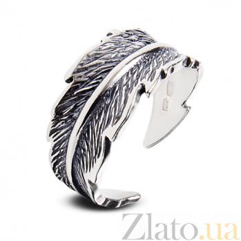 Серебряное кольцо с чернением Перышко 1502ч