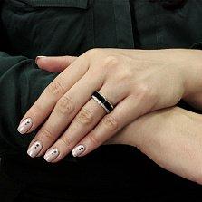 Золотое обручальное кольцо Черный ирис с бриллиантами