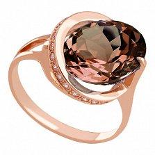Золотое кольцо Илэрия с гидротермальным раухтопазом и фианитами