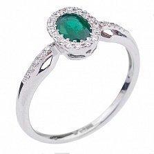 Золотое кольцо Евангелина с изумрудом в обрамлении бриллиантов