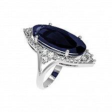 Серебряное кольцо Селина с наносапфиром и фианитами
