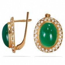 Золотые серьги Мирабелла с зеленым агатом и фианитами