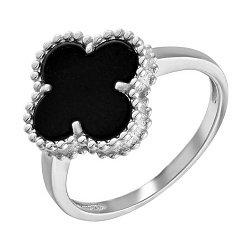 Золотое кольцо Клевер в белом цвете с агатом в стиле Ван Клиф