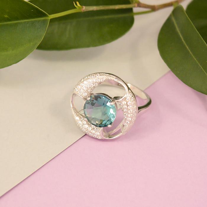 Серебряное кольцо Вихрь с гидротермальным морским кварцем и фианитами