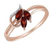 Кольцо Динара из красного золота с бриллиантами и гранатами