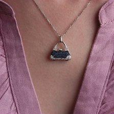 Золотой подвес Модница с сапфирами и бриллиантами