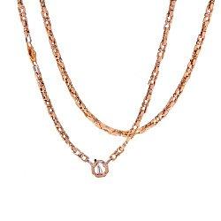 Золотая цепь Baraka Бомонд фантазийного плетения с черным фианитом 000068443