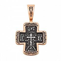 Серебряный крестик с позолотой и чернением 000123842