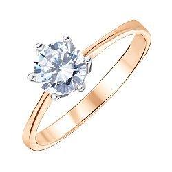 Золотое кольцо Дана в комбинированном цвете с цирконием