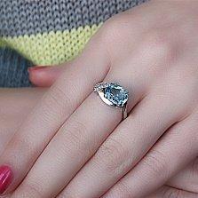 Серебряное кольцо Оливия с топазом и фианитами