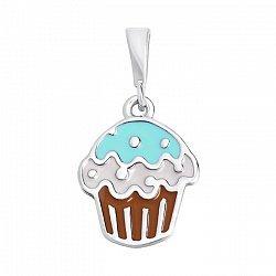 Серебряная подвеска Аппетитный кекс с белой и зеленой эмалью 000095476