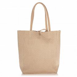 Кожаная сумка на каждый день Genuine Leather 8040 бежевого цвета на завязках