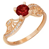 Золотое кольцо Эврика с гранатом и фианитами