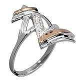 Кольцо из серебра Зорро со вставками золота и фианитами