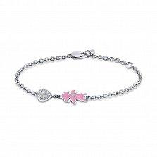 Серебряный браслет Малышка с ролдием, розовой эмалью и фианитами