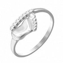 Серебряное кольцо Стопа с дорожкой фианитов