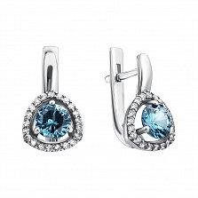 Серебряные серьги Римма с голубым кварцем и фианитами
