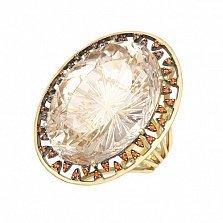 Золотое кольцо Аланта в евро цвете с фантазийным топазом и красными топазами