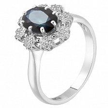 Золотое кольцо Хелена в белом цвете с сапфиром и фианитами