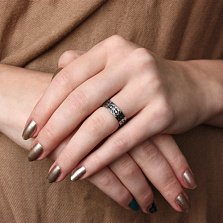 Обручальное кольцо Оберег любви в белом золоте