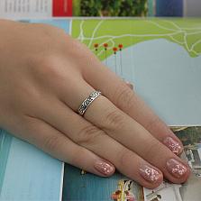 Серебряное кольцо Графический орнамент