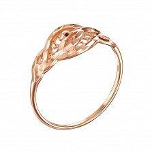 Кольцо в красном золоте Амитрея с насечкой на узорной части шинки