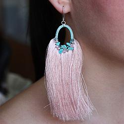 Серьги-кисточки из шелковых нитей с бирюзой и кристаллами Swarovski