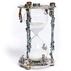 Дизайнерские серебряные песочные часы с позолотой и цветной эмалью 000004512