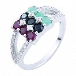 Серебряное кольцо Пейтон с сапфиром, изумрудом, рубином и фианитами