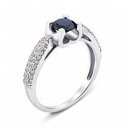 Серебряное кольцо с синтезированным сапфиром и фианитами 000136273