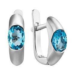 Серебряные сережки с голубыми топазами 000098837