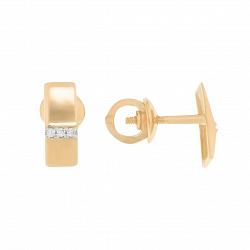 Золотые серьги-пуссеты Аринат в стиле минимализм с белыми фианитами