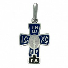 Серебряный крест с синей эмалью Оберег