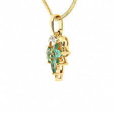 Подвес из жёлтого золота с изумрудами и бриллиантами Эмма