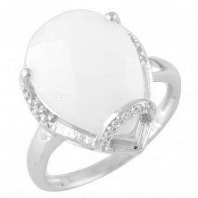 Серебряное кольцо Мануэла с белым агатом и фианитами