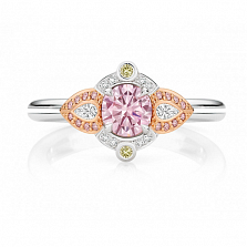 Кольцо Argile из белого и розового золота с бриллиантами, розовыми сапфирами и желтыми сапфирами