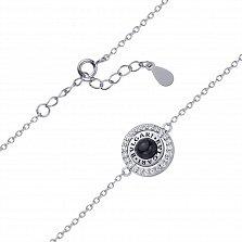 Серебряный браслет Затмение черным и белыми фианитами, черной эмалью в стиле Булгари