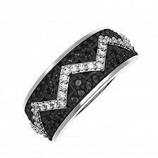 Серебряное кольцо Селена с белыми и черными фианитами