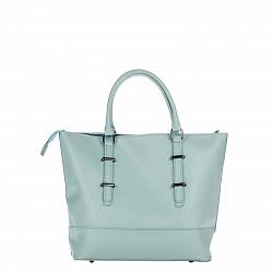 Кожаная сумка на каждый день Genuine Leather 8615 голубого цвета на молнии, со съемным ремнем