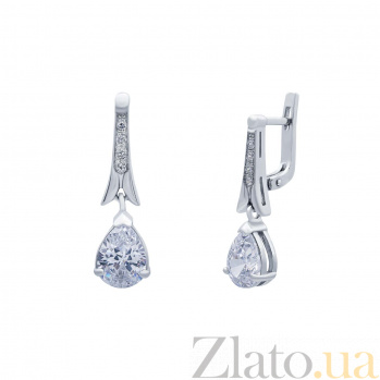 Серебряные серьги с фианитами Летняя роса AQA--72242б