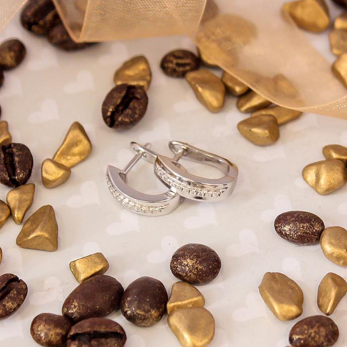 Серебряные серьги Классик с дорожками белого циркония 000079030