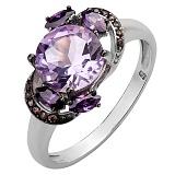 Серебряное кольцо с аметистами и цирконием Метель