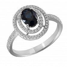 Кольцо из белого золота Виконтесса с сапфиром и бриллиантами