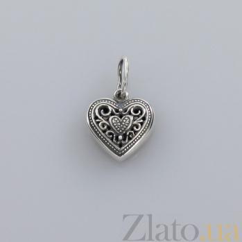 Серебряный подвес Сердце с вензелями 000017454