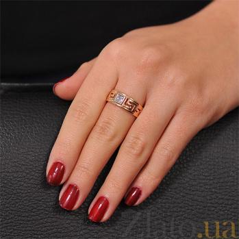 Золотое кольцо в стиле Версаче с цирконием EDM--КД0321