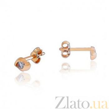 Золотые пусеты с цирконием Миледи EDM--С0379-G