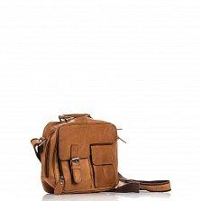 Кожаная мужская сумка HILL BURRY 870548 коричневого цвета на молнии с дополнительными карманами