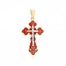 Золотой крестик с красной эмалью Расписной