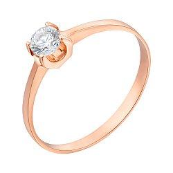 Золотое помолвочное кольцо с цирконием Swarovski 000070990