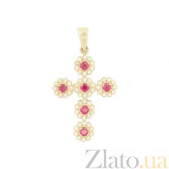 Золотой крестик с рубинами и цирконием Эдем 2П480-0077